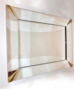 1960s Italian Vintage Minimalist Black Glass Brutalist Brass Wall Mirror - 2067798
