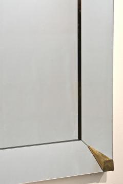 1960s Italian Vintage Minimalist Black Glass Brutalist Brass Wall Mirror - 2067799