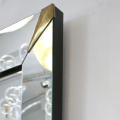 1960s Italian Vintage Minimalist Black Glass Brutalist Brass Wall Mirror - 2067801