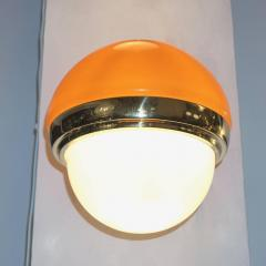 1960s Italian Vintage White Orange Murano Glass Brass Double Lit Sconces - 639368