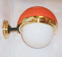 1960s Italian Vintage White Orange Murano Glass Brass Double Lit Sconces - 639370