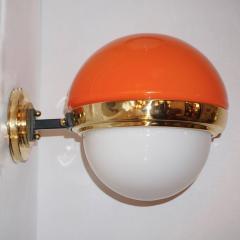 1960s Italian Vintage White Orange Murano Glass Brass Double Lit Sconces - 639371