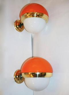 1960s Italian Vintage White Orange Murano Glass Brass Double Lit Sconces - 639372