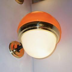 1960s Italian Vintage White Orange Murano Glass Brass Double Lit Sconces - 639373