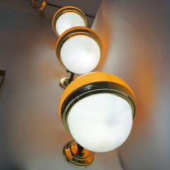 1960s Italian Vintage White Orange Murano Glass Brass Double Lit Sconces - 639374