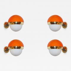1960s Italian Vintage White Orange Murano Glass Brass Double Lit Sconces - 644677