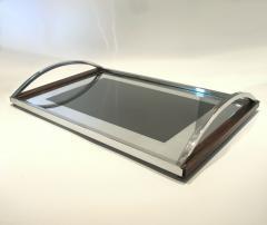 1960s Italian wood chrome and mirror tray - 797166