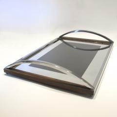 1960s Italian wood chrome and mirror tray - 797168