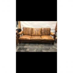 1960s Mid Century Brazilian Stitched Leather Sofa - 1356087