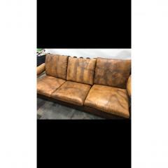 1960s Mid Century Brazilian Stitched Leather Sofa - 1356090