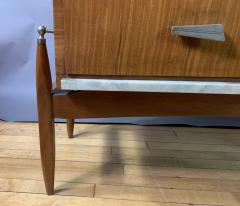 1960s Satinwood Rosewood Marble Credenza American Modern - 1757770
