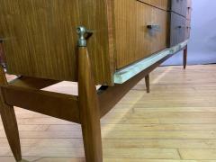 1960s Satinwood Rosewood Marble Credenza American Modern - 1757781