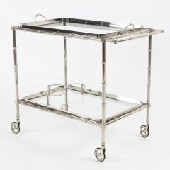 1960s Swedish Polished Nickel Faux Bamboo Bar Cart on Casters - 475196