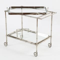 1960s Swedish Polished Nickel Faux Bamboo Bar Cart on Casters - 475197