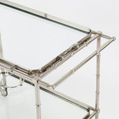 1960s Swedish Polished Nickel Faux Bamboo Bar Cart on Casters - 475199