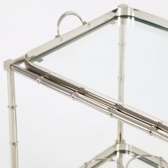 1960s Swedish Polished Nickel Faux Bamboo Bar Cart on Casters - 475200