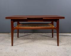 1960s Trioh of Denmark Teak Woven Cane Expandable Coffee Table - 2170173