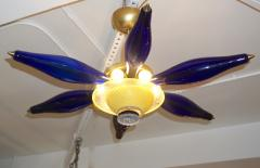 1960s Vintage Italian Star Pendant Flush Mount in Yellow and Blue Murano Glass - 1165303