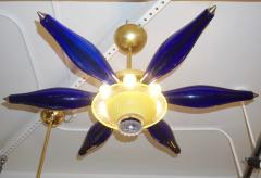 1960s Vintage Italian Star Pendant Flush Mount in Yellow and Blue Murano Glass - 1165304