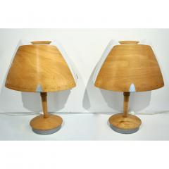 1970 French Vintage Birch Wood and Acrylic Table Lamp for Barcelona Hilton Hotel - 1487670