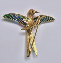 1970 s 18K Enamel Humming Bird Brooch  - 1167736