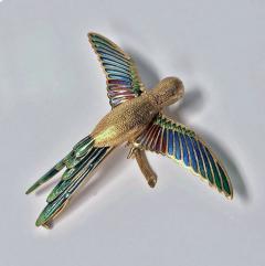 1970 s 18K Enamel Humming Bird Brooch  - 1167737