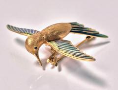 1970 s 18K Enamel Humming Bird Brooch  - 1167738