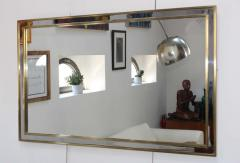1970 s Modern Chrome And Brass Italian Mirror - 1909966