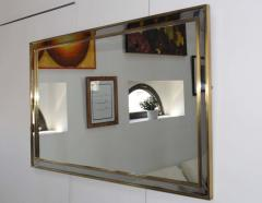 1970 s Modern Chrome And Brass Italian Mirror - 1909969