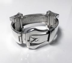 1970 s Unisex Enamel Sterling Buckle Strap Bracelet - 1196743