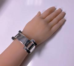 1970 s Unisex Enamel Sterling Buckle Strap Bracelet - 1196744