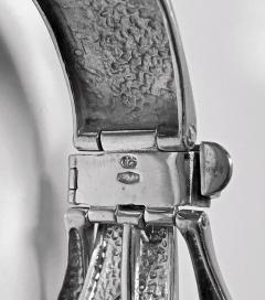 1970 s Unisex Enamel Sterling Buckle Strap Bracelet - 1196745
