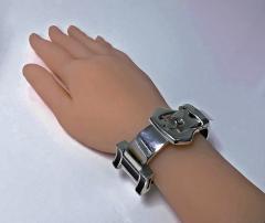 1970 s Unisex Enamel Sterling Buckle Strap Bracelet - 1196746