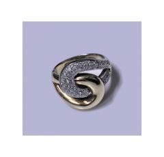 1970s 14K Yellow and White Gold Diamond Twist Ring - 331096