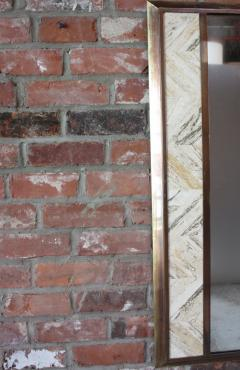 1970s Brass Mirror with Tessellated Travertine Inlay - 1189064