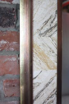1970s Brass Mirror with Tessellated Travertine Inlay - 1189070