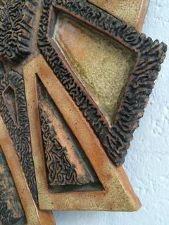 1970s Brutalist Ceramic Wall Sculpture - 1398273