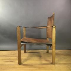 1970s European Oak Stitched Leather Safari Chair - 1747447