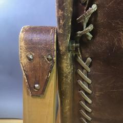 1970s European Oak Stitched Leather Safari Chair - 1747450