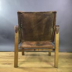 1970s European Oak Stitched Leather Safari Chair - 1747453