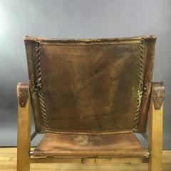 1970s European Oak Stitched Leather Safari Chair - 1747454