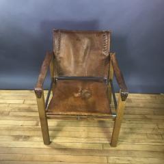 1970s European Oak Stitched Leather Safari Chair - 1747458