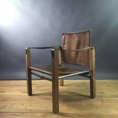 1970s European Oak Stitched Leather Safari Chair - 1754296