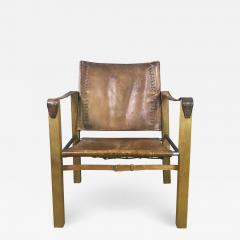 1970s European Oak Stitched Leather Safari Chair - 1756964