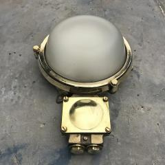 1970s Industrial Brass Frosted Glass Wall Light - 1007822