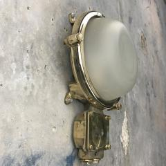 1970s Industrial Brass Frosted Glass Wall Light - 1007824