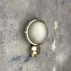 1970s Industrial Brass Frosted Glass Wall Light - 1007833