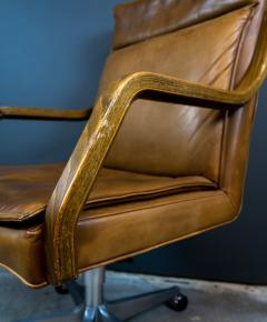 1970s Italian Office Chair in Cognac Leather Cherry Wood - 2147767