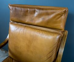 1970s Italian Office Chair in Cognac Leather Cherry Wood - 2147786