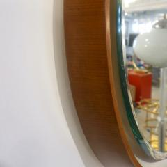 1970s Italian Vintage White Framed Cherry Wood Back Lit Oval Mirror - 1388994